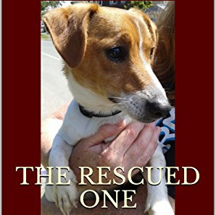 Front cover of my ebook featuring a headshot of a Jack Russell Terrier dog and the title 'The Rescued One'. Dark burgundy border.