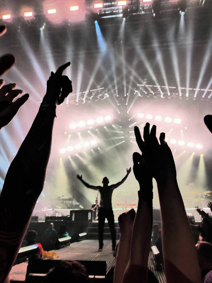 Chester on stage, hands held high, silhouetted against the stage background and lighting. Fans silhouetted arms and hands frame the foreground.