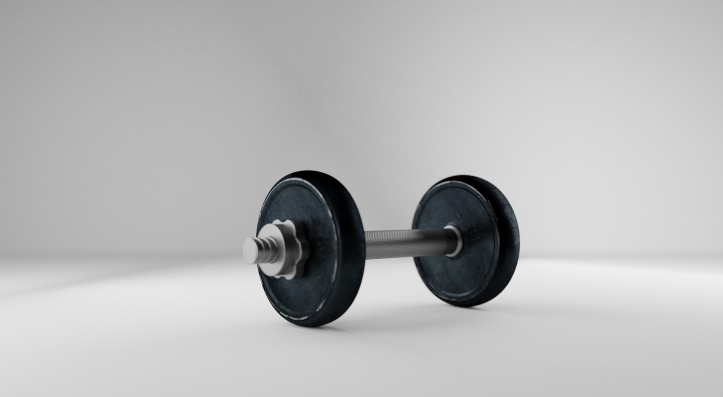 A single small lifting weight comprising of silver bar and a black weight attached to each end, set against a plain white background.