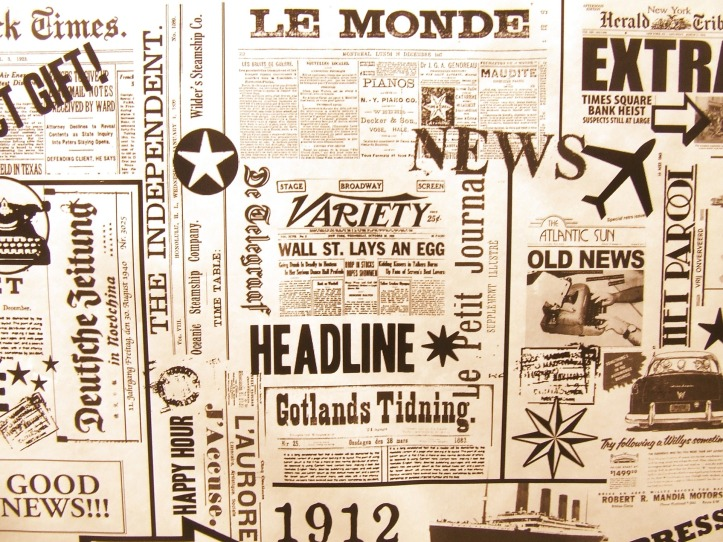 Generic newsprint with words such as 'News', 'Headline', 'Le Monde' etc.